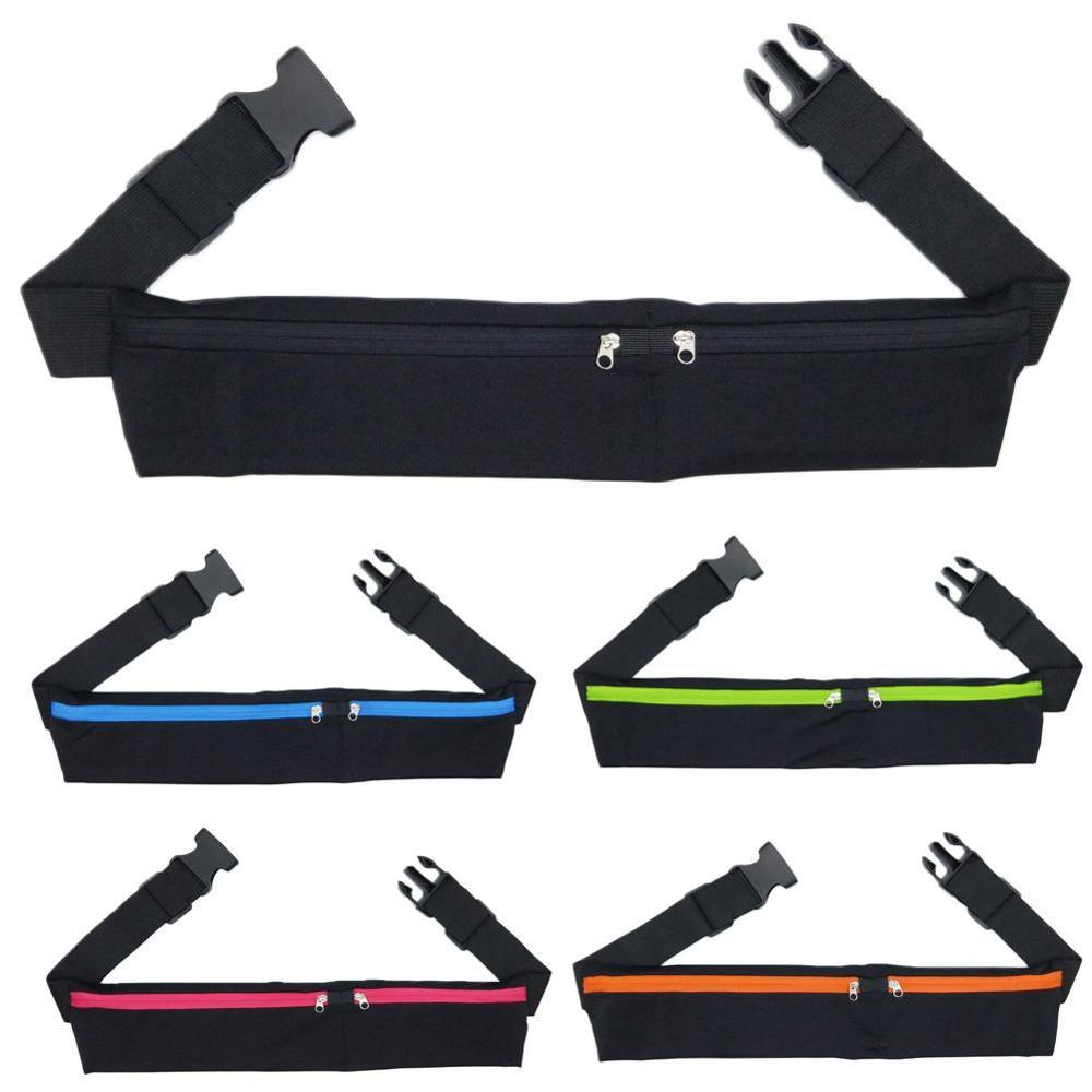 Dual Pocket Running Belt Phone Pouch Waist Bag Sports Travel Fanny Pack Outdoor