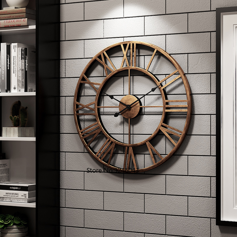 Relógio de parede Nórdico moderno e minimalista sala de estar ferro forjado quarto silencioso relógio relógio criativo casa de moda Americano