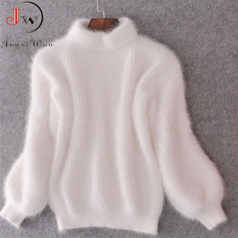 Weiß Mohair Verdicken Rollkragen Pullover Herbst Winter Süße Mode Laterne Hülse Casual Einfarbig Pullover pull femme