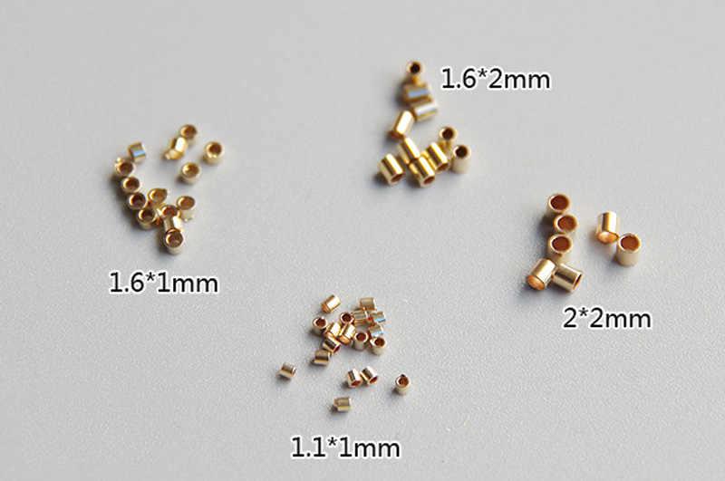 Emas MINI Posisi Tabung Pengatur Jarak Manik-manik Biji Tembaga Rantai Ukuran untuk Membuat Perhiasan Aksesoris Temuan 1-2 MM 50 Buah