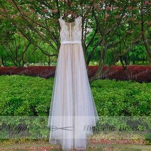 Image 5 - Mryarce plaża suknia ślubna Illusion dekolt koronkowe aplikacje Flowy tiul letnie sukienki suknie ślubne z guzikami