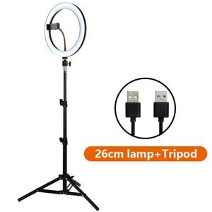 Image 2 - 10Inch Led Video Selfie Ring Licht Met 62Inch Statief Stand Telefoon Houder Fotografie Vulling Ring Licht Voor Youtube make Up Studio