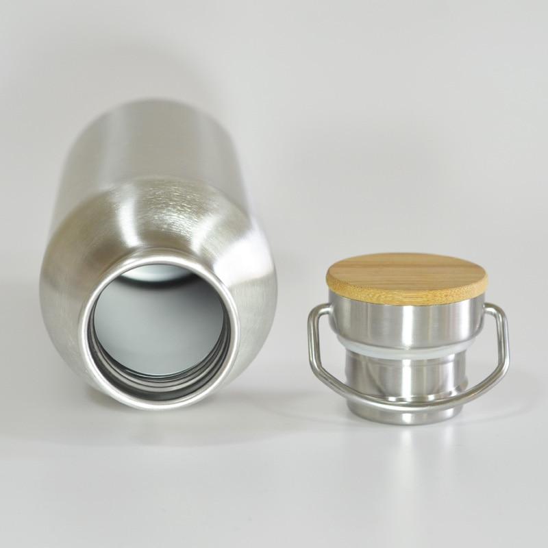 Botella de agua de acero inoxidable libre de BPA Tapa de bambú - Cocina, comedor y bar - foto 3