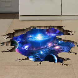 Creative 3D Universe Galaxy Wall Stickers For Ceiling Roof Self-adhesive Mural Decoration Personality Waterproof Floor Sticker