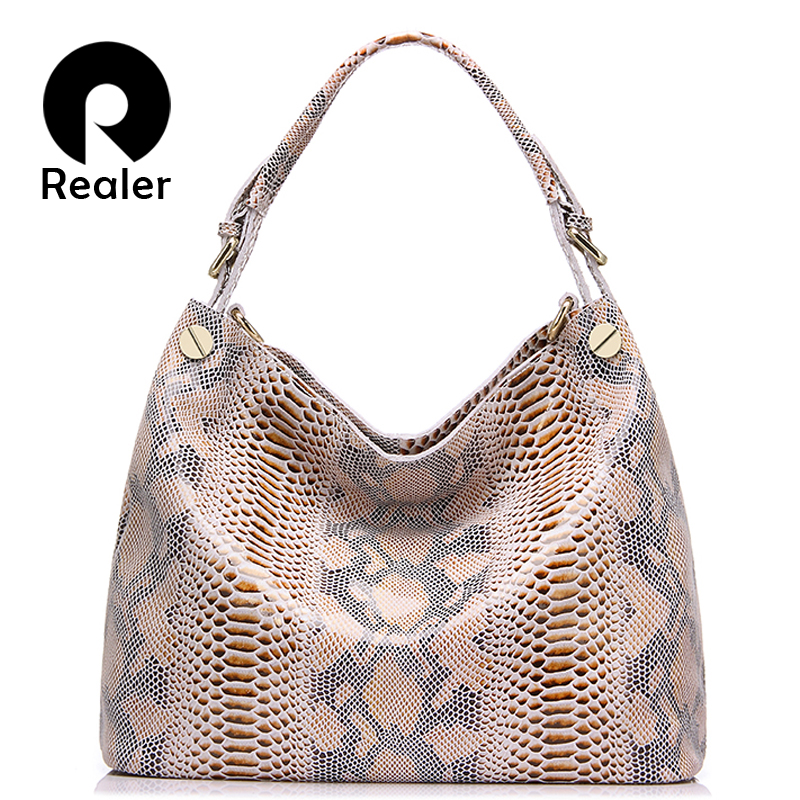 REALER brand genuine leather bag women fashion serpentine prints leather handbags female large shoulder bags hobos