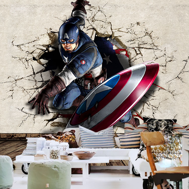 Captain America Photo Wallpaper 3D Wallpaper Boys Kids Room Decor Marvel  Heroes Murals Club Bedroom Living Room Wall Paper Cool In Wallpapers From  Home ...