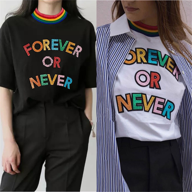 FOREVER OR NEVER Tshirt Harajuku Women Loose Rainbow Letters Stripe Collar Tops Casual T-Shirts Women 2018 Summer Fashion Tee