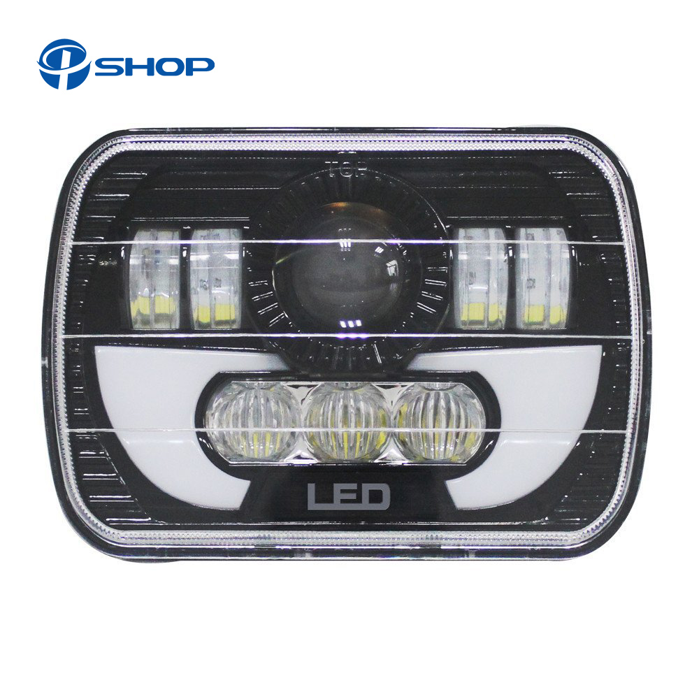 5 X 7 90W Square Truck LED Headlight Driving Lamps with Hi/Lo DRL For Jeep Wrangler YJ Cherokee XJ Comanche MJ Trucks pair led 5 x 7 led headlight replacement for jeep cherokee xj trucks headlights hid light drl amber turn signal for comanche page 3 page 8 page 9