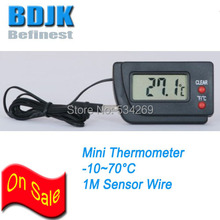 Free Shipping Black Digital Pocket Thermometer with External Sensor Wire Temperature Tester