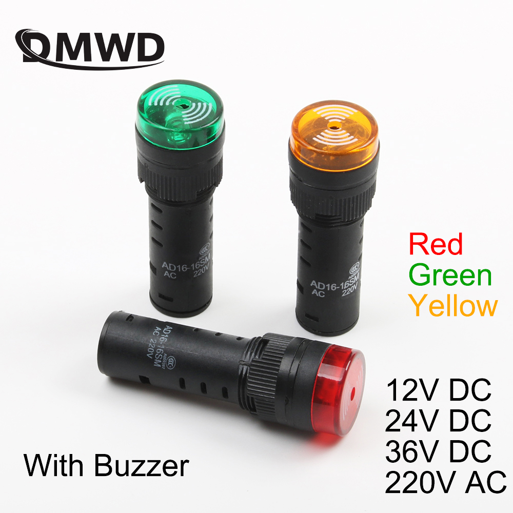 20pcs AD16-16SM 16mm 12V 24V 36V 220V Flash Signal Light Red Warning Buzzer Beep Alarm Industrial Plastic Indicator Green Yellow