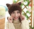 Mujeres lindas del envío gratis Gilr Winter Warm Beanie Hat Ear cuernos gato de ganchillo hechos a mano Knit Ski Cap Hat Beanie
