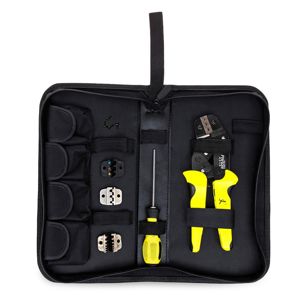 PARON 4 In 1 Multifunction Wire Crimper kit Engineering Ratchet Terminal Crimping Plier Wire Crimper Screwdriver Hand Tool Sets multifunction ratchet s wire crimpers terminal module crimping plier press plier press pinchers crimping too l made in taiwan