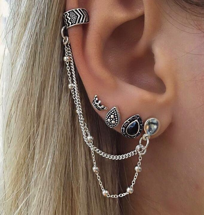 Women Fashion Punk Rock Leaf Chain Tassel Dangle Ear Cuff Wrap Earrings Ear Clip Sterling Silver Chain Tassel Drop Post Earrings for Woman Young Gift