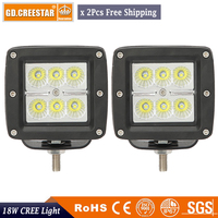 High Power Cube LED Work Lights 18W 3 3 Inch Square Spot Flood Beam 2 Pack