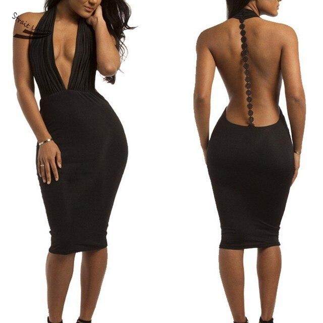 2018 Fashion Hot New Women Sexy Dresses V Neck Backless Dresses Lady  Bodycon Pencil Dress Party Club Wear Vestido 10 dd078104cd20