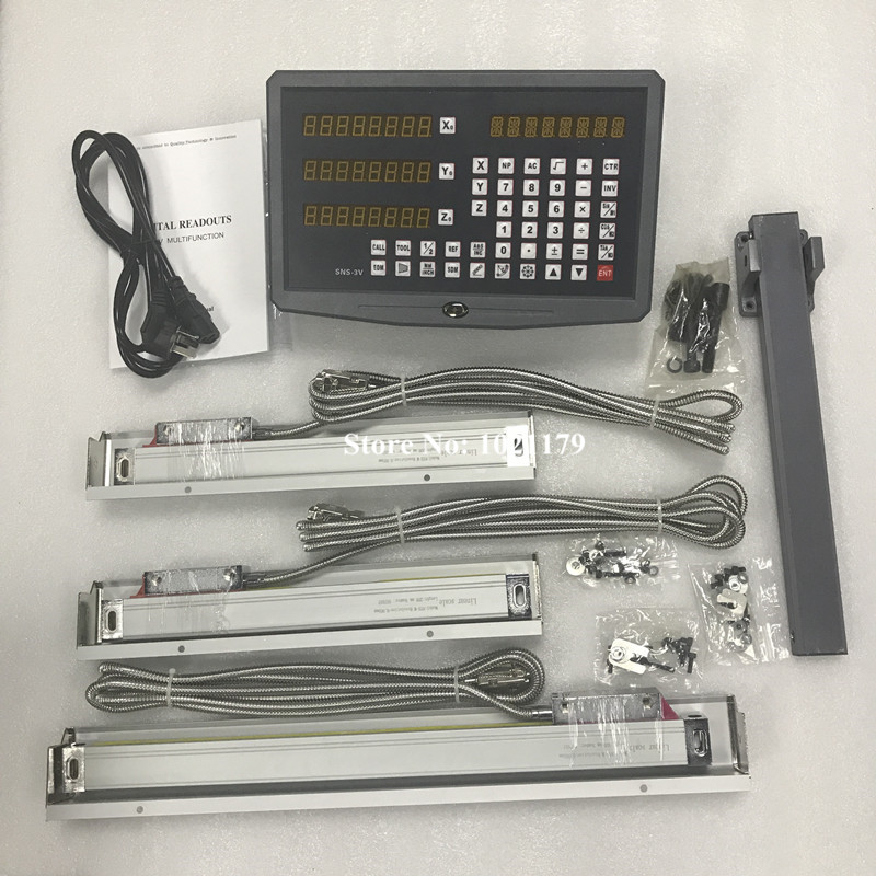 High accuracy 3 axis drill / lathe / milling machine digital readout DRO and 3 pieces linear scales / linear sensors dro system complete set 3 axis milling machine linear glass scale and digital readout dro