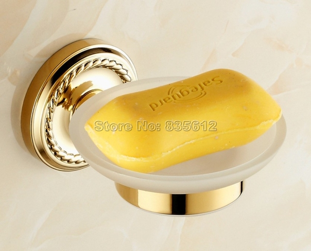 Bathroom Accessory Wall Mounted Gold Color Brass Bathroom Soap Dish Holder  Wba612