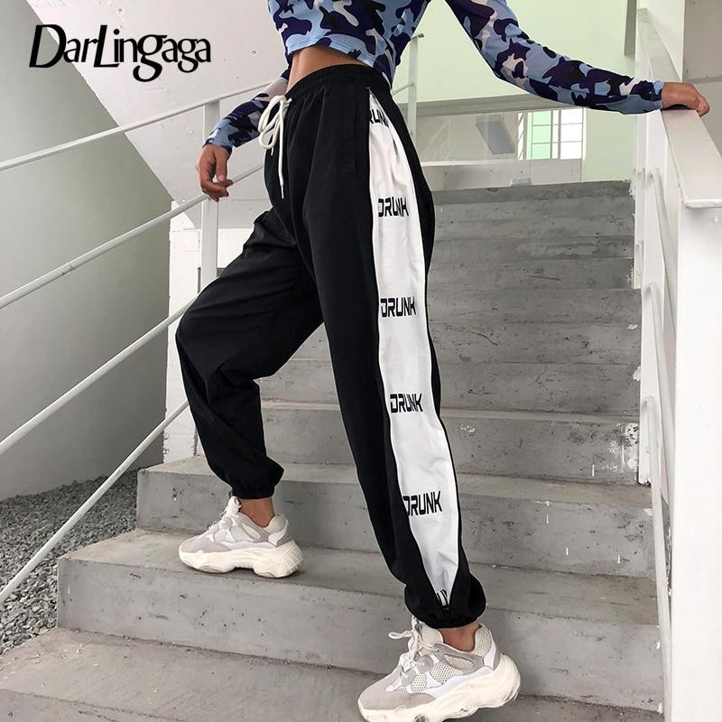 Darlingaga Streetwear Hip Hop Summer   Pants   Women Side Stripe Letter Joggers Trousers Elastic High Waist   Pants   Bottom   Capris   2019
