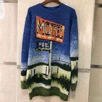 Свитер с принтом женский топ трикотажная шерсть, мохер свитер с круглым вырезом Повседневный пуловер вязаный длинный Осень 2018