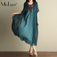 MissLymi XXL Size Women Maxi Long Dresses Summer 2017 Chinese Style Bohemia Embroidery Tassel Fake Two