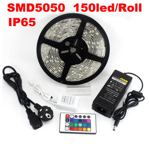 5050 150led 5M RGB LED Strip light SMD 30led/m waterproof + 24 IR remote+ 5A Adaptor, promotion price