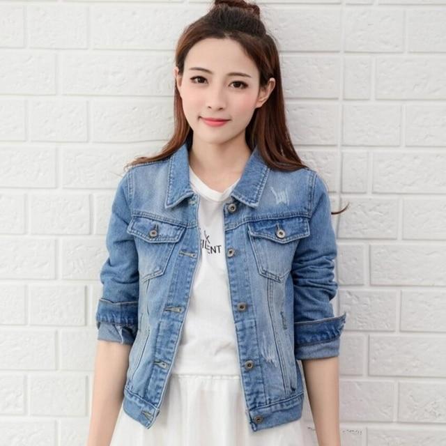 53a6f39b19ef Femmes Denim Veste Jeans 2018 Automne Survêtement Manteau Bleu Blanc  Occasionnel De Base Manteaux Coupe-