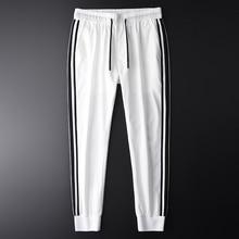 Minglu 男性ジョガーパンツ高級ファッションサイドコントラスト色カジュアルパンツ男性プラスサイズ 4xl 夏スリムフィットスポーツメンズズボン