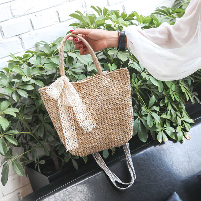 Retro straw bag Woman messenger handbag Girls rattan tote shoulder bag Beach wicker shoulder tote bag