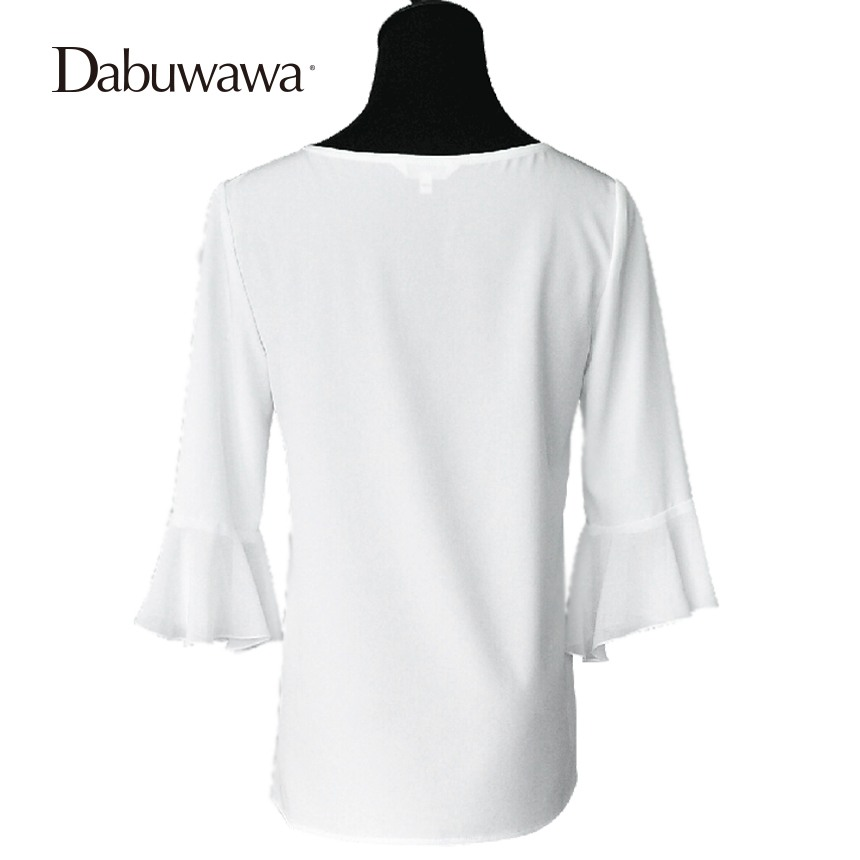 Dabuwawa Fashion Branded Blouse Casual Tops For Ladies Chiffon Ruffle Shirt White Chiffon Blouse Shirt Tops O-Neck #D17CST062