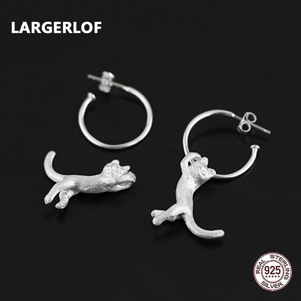 цена на LARGERLOF Real 925 Sterling Silver Earrings Minimalist Jewelry Handmade Small Cat Drop Earrings For women ED49019