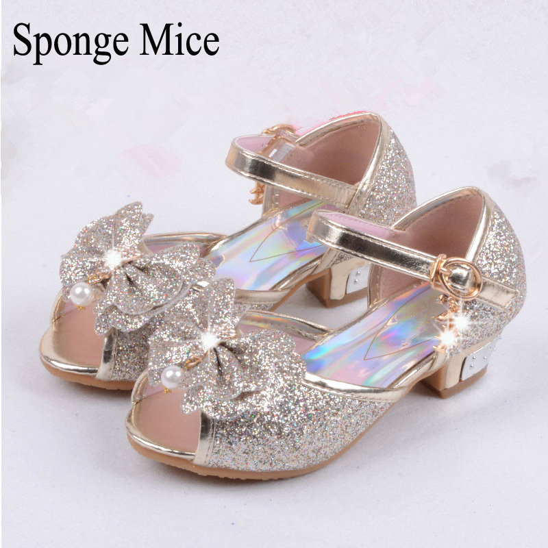 sponge mice enfants 2017 children princess sandals kids girls wedding shoes high heels dress shoes party
