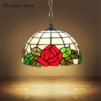Mediterranean Garden red rose chandelier bedroom balcony antique printed hand painted glass chandelier free shipping
