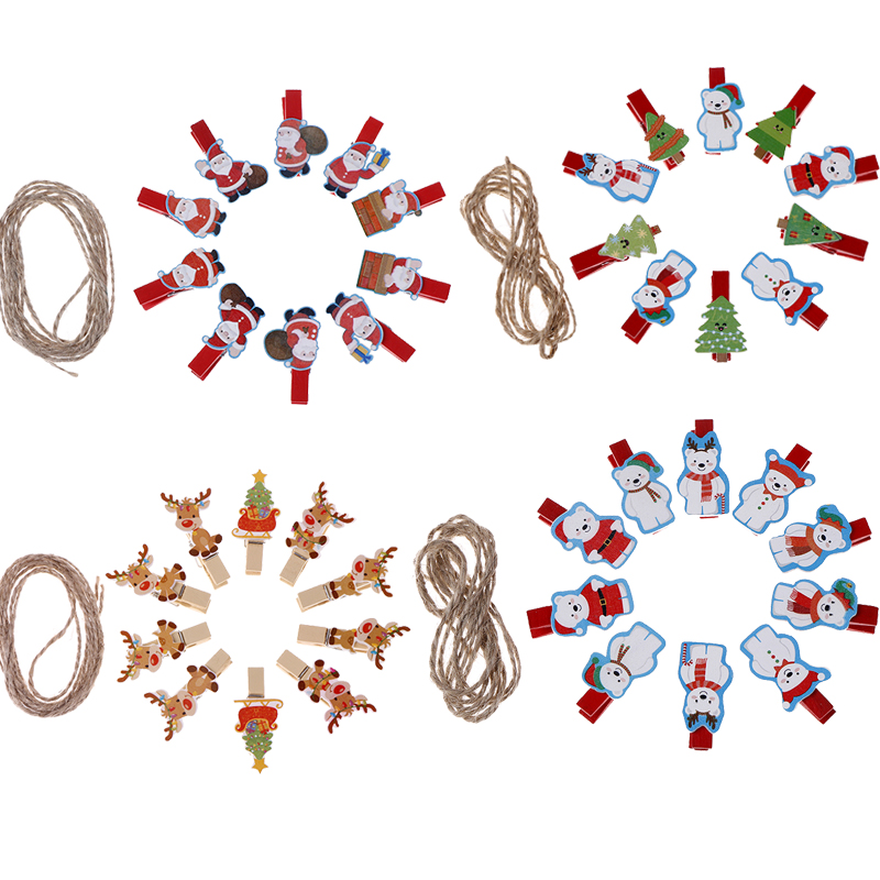 10pcs/lot Kawaii Santa Claus Deer Wooden Clip Photo Clothespin Craft Clips Christmas Decor Party Decoration Clip With Hemp Rope