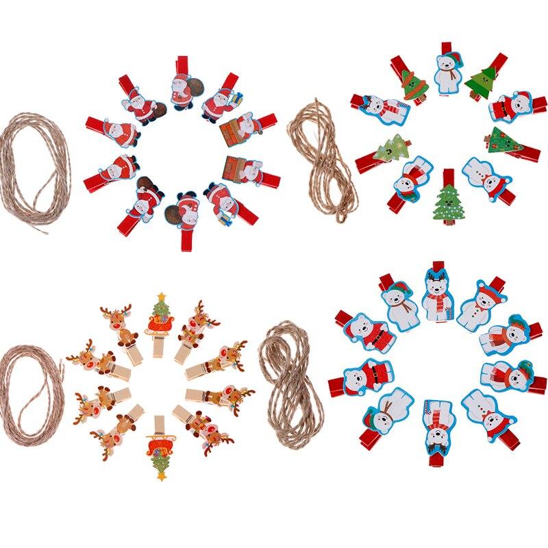 10pcs/lot Kawaii Santa Claus Deer Wooden Clip Photo Clothespin Craft Clips Christmas Decor Party Decoration Clip With Hemp Rope