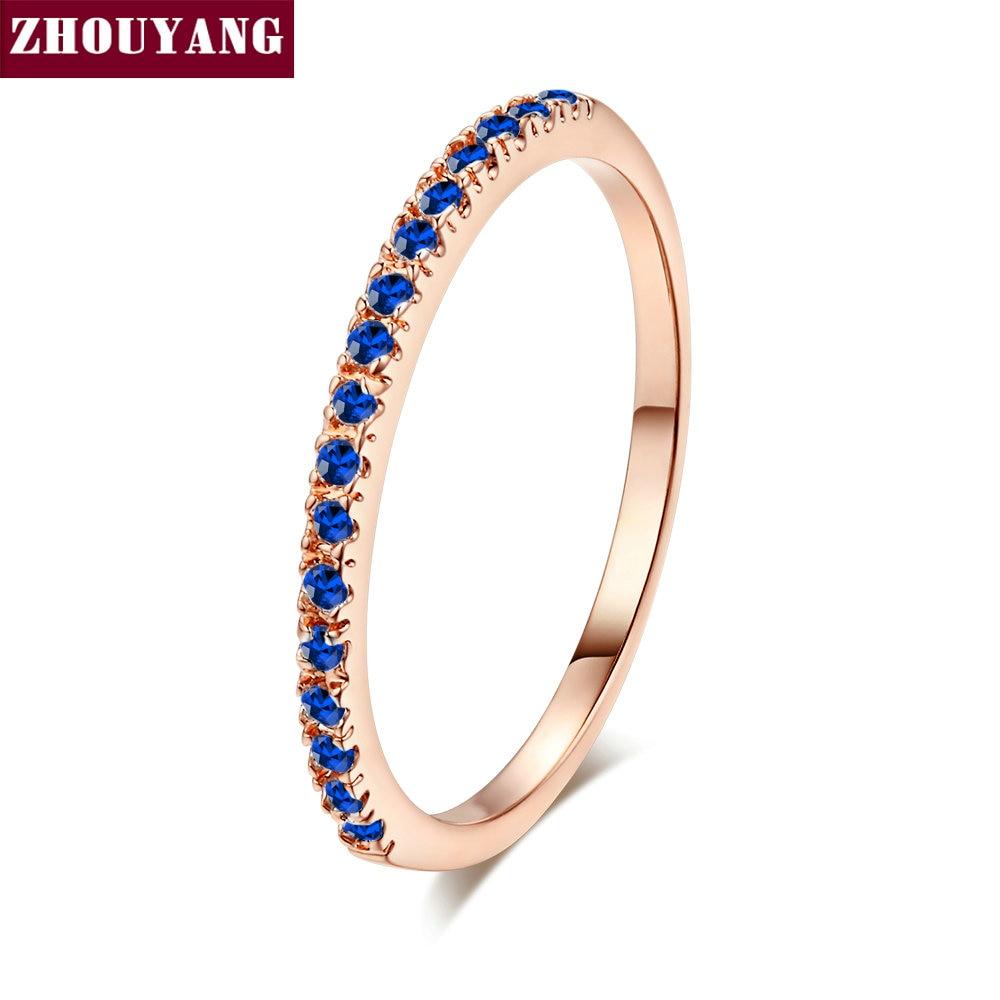 ZHOUYANG обручальное кольцо для женщин и мужчин лаконичное классическое многоцветное мини кубическое циркониевое розовое золото цвет подарок модное ювелирное изделие R251 - Цвет основного камня: R251