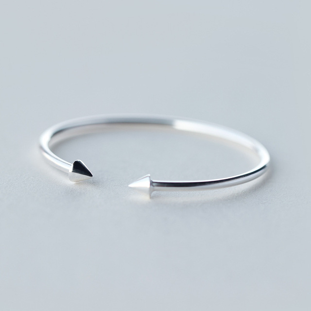 Genuine 925 Sterling Silver Polished Double circular Cone Bangle bracelet adjustable LS138