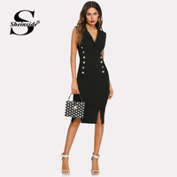 Sheinside Black Elegant Double Breasted Blazer Dress Women 2019 Summer Sleeveless Bodycon Dresses Office Ladies Side Split Dress
