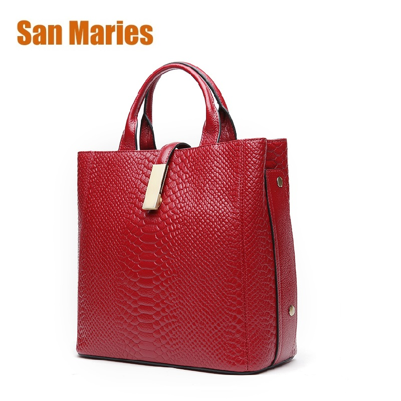 San Maries Ladies Handbag Genuine Leather Tote Bag Female Messenger Bags Womens Big Shoulder Bags Hobo With Serpentine Prints San Maries Ladies Handbag Genuine Leather Tote Bag Female Messenger Bags Womens Big Shoulder Bags Hobo With Serpentine Prints