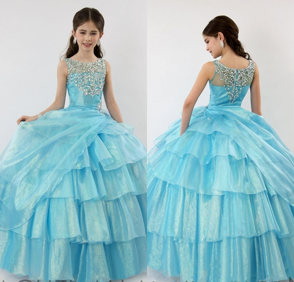 2015Stylish Tiered Ball Gown Corset Flower Girl Dress Beaded Kids Party  Wear Frocks Girls Evening Dress Vestido Daminha De Noiva b3593e71fdf1