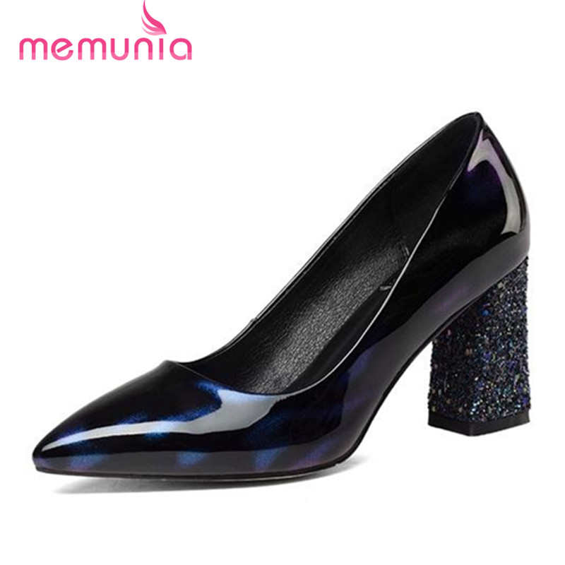 ФОТО MEMUNIA Pointed toe shallow single shoes party women pumps lnside genuine leather high heels shoes two colors elegant