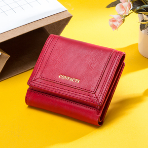 Image 2 - 100% Genuine Leather Women Wallets Short Coin Purse Card Holder Female Money Bag High Quality Mini Walet Small Carteira Feminina