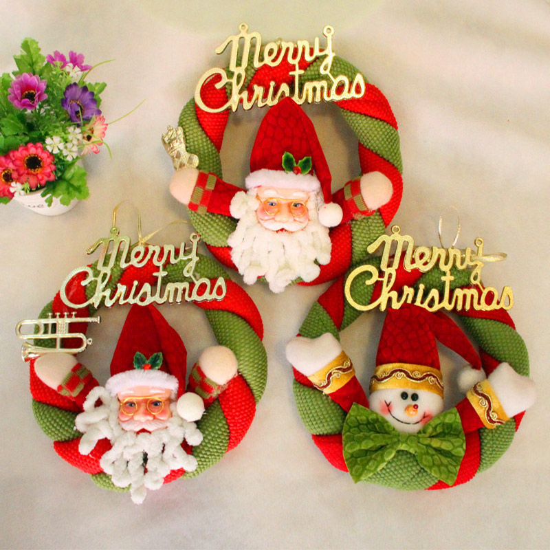Christmas Accessoeies Decoration Garland Cloth Circle Marry Christmas Oldman Snowman Knocker For Party Gift -026-027 ...