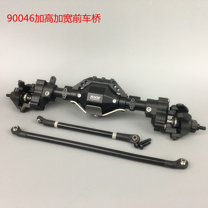1/10 Scale Crawler RC Car axle upgrade part front portal widen and rise axle with steering knuckle for Axial scx10-ll 90046 2pcs 2 2 metal wheel hubs for 1 10 scale rc crawler car nv widen version outer beadlock wheels diameter 64 5mm width 43 5mm