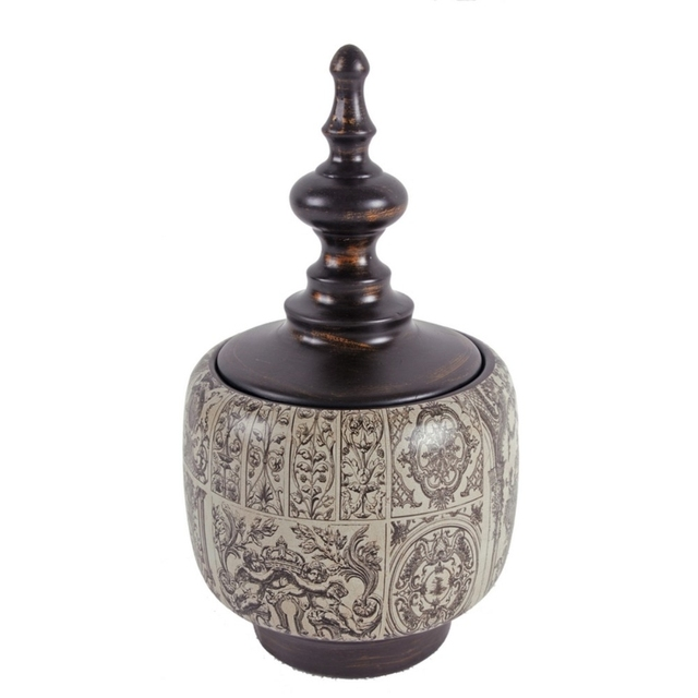 Traditional Style Ceramic Lidded Jar ,Brown