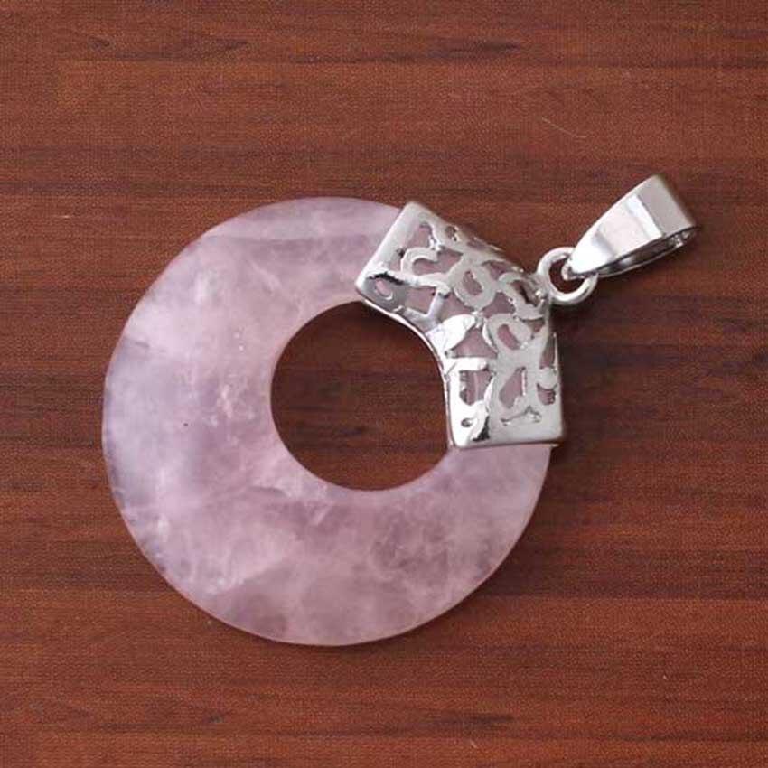 Xinshangmie Посеребренная Природный розовый Quartzs безопасной пряжкой круглый полый Форма Винтаж кулон для любителей Модные украшения