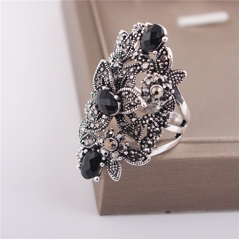 Ajojewel Black Crystal Rhinestone Flower Jewelry Vintage Retro Ring - Сәндік зергерлік бұйымдар - фото 5