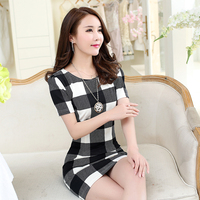 2017 Spring And Summer Short Sleeved Korean Slim Was Thin OL Plaid Pack Hip Dress
