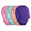 Newborn 4Pcs/lot Baby Jumpsuits Printed Children Retail Infant Long Sleeve Bodysuits 100% Cotton Baby Autumn Clothes Set