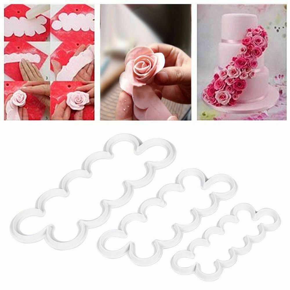 3pcs Cake Sugar Craft Easiest Rose Ever Cutter Cookie Cutter Fondant Decorating Tool Sugar Craft Rose Flower Moldel image
