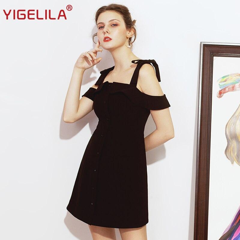 Kadın Giyim'ten Elbiseler'de YIGELILA 2019 Moda Kadınlar Küçük Siyah Elbise Yaz Katı Slash Boyun Spagetti Kayışı İmparatorluğu Ince A line Mini Parti Elbise 64139'da  Grup 1